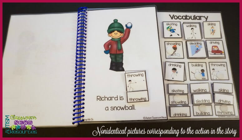 An example of nonidentical pictures to identify actions in a story from 4 Easy Ways to Target Receptive Vocabulary with Interactive Books by Autism Classroom Resources