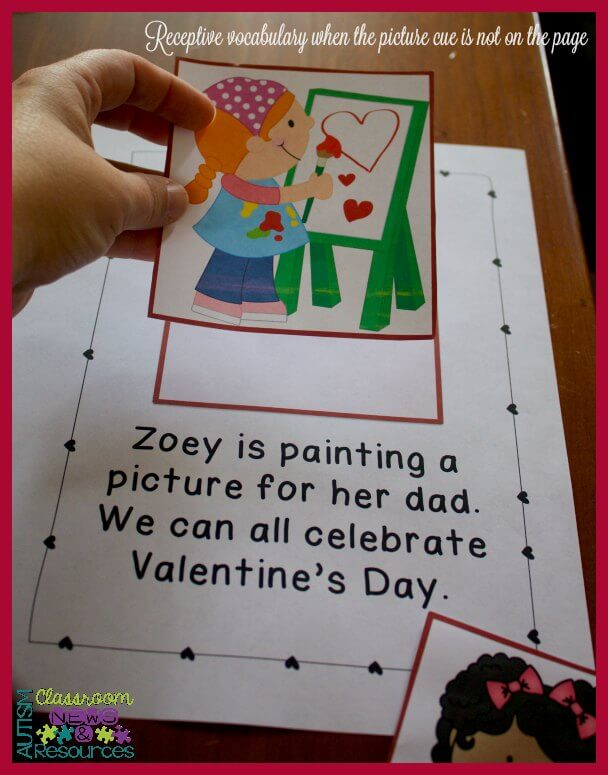 Receptive vocabulary when picture is not on the page to give a cue and student finds the picture related to the text in 4 easy ways to target receptive vocabulary with interactive books