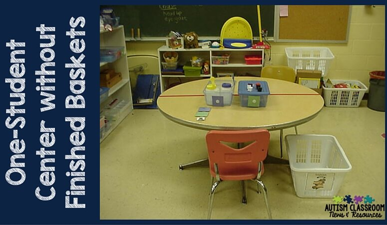 A 1-student work station center. This classroom had students with significant needs and we had the staff to provide centers 1-1. We only had a round table to work with so we used masking tape to divide it off. For two students we would eventually put another station on the other side.