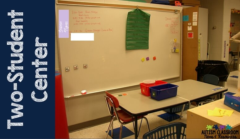 An example of Two Student Work Center for Independent Work with 1 Table used with centers