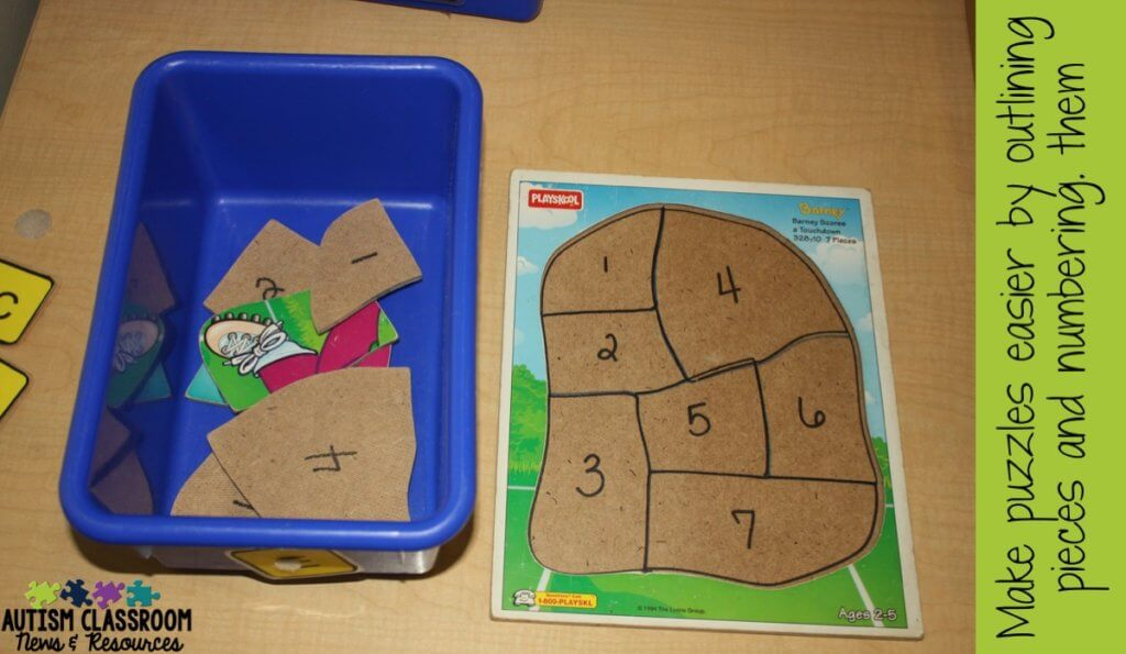 Let's face it, finding and developing work boxes for independent work systems is a full-time job.  Puzzles are an easy way to create work tasks for students with autism and special education classrooms.  Check out these tips for using them and catch the Workbasket Wednesday linkup of posts about work boxes.