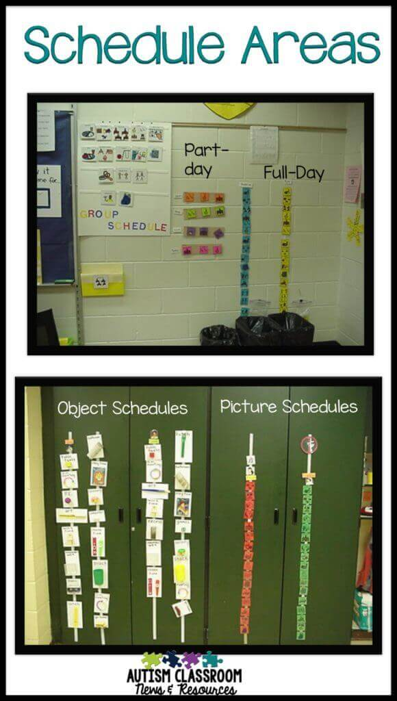 Pictures of individual visual schedules including picture schedules, written schedules and object schedules for students with autism.