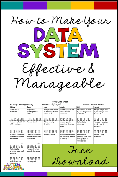 Taking data is hard.  How do special education teachers juggle it all and still keep their students engaged? And how do they know how much data to take? If you have ever asked these questions, this post is for you...and it has a free downloadable data sheet to help.