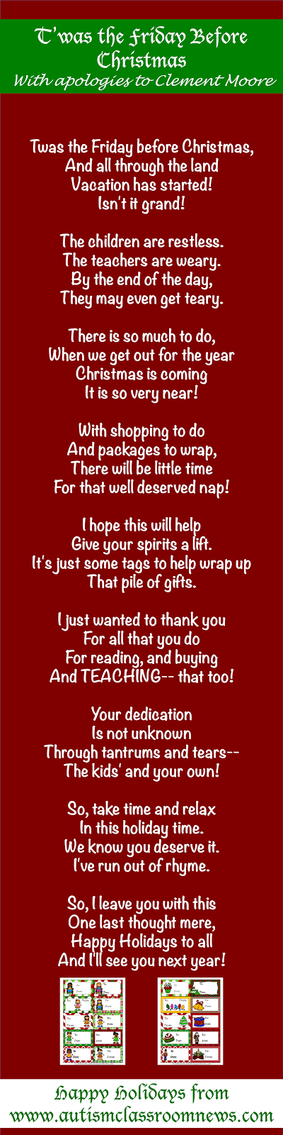 A Gift From Me to You (And a poem!) - Autism Classroom ...