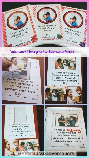 Pages from the Valentine's Day Photograph Interactive books --pictures demonstrate matching, expressive ID and fill in the blank concepts.