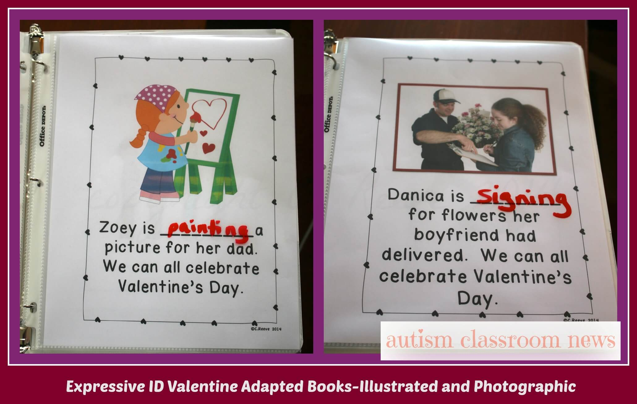 Valentine's Day interactive books with illustration page and photo page for expressive ID of verbs