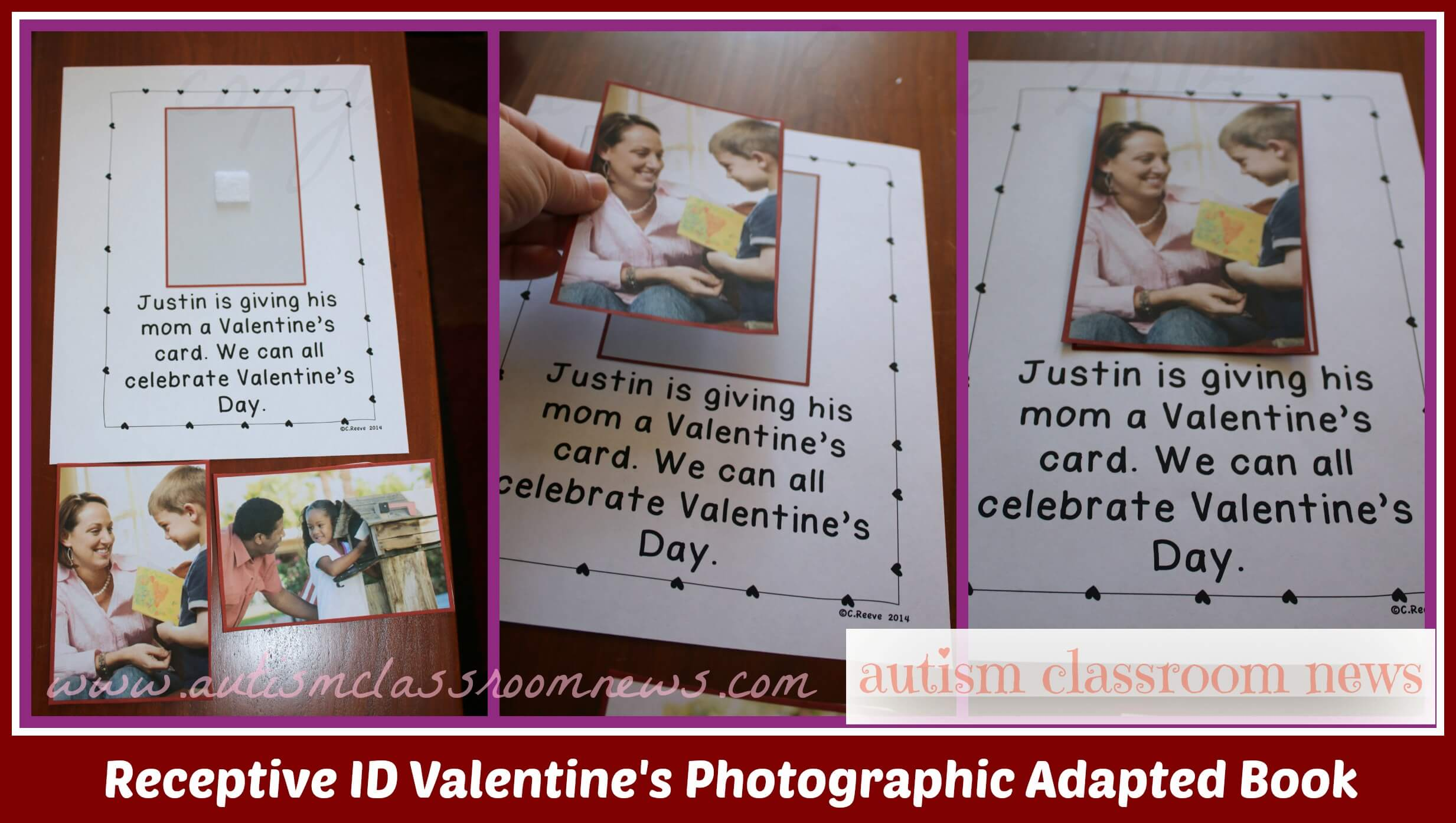 Valentine's interactive books with photographs for receptive ID of pictures.