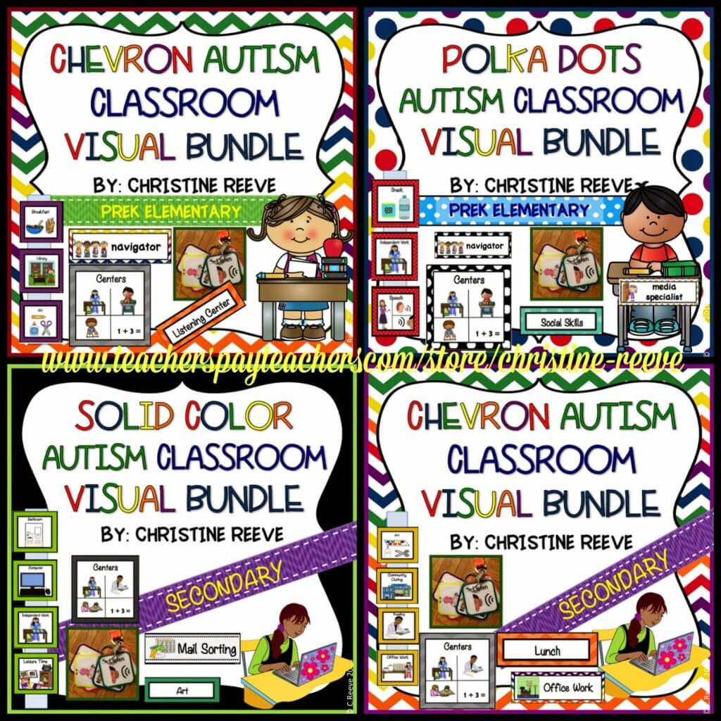 Schedules and visuals for special education classrooms and students with autism for all ages. Includes classroom jobs, rules, mini-schedules, written schedules, and picture schedules
