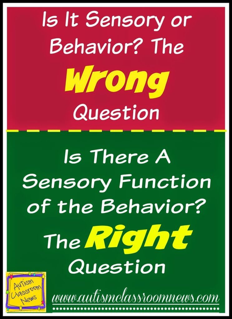 Is it Sensory or Behavior?  The WRONG Question--Here's Why I think so along with some tips to address challenging behaviors that are functioning to mediate sensory needs.