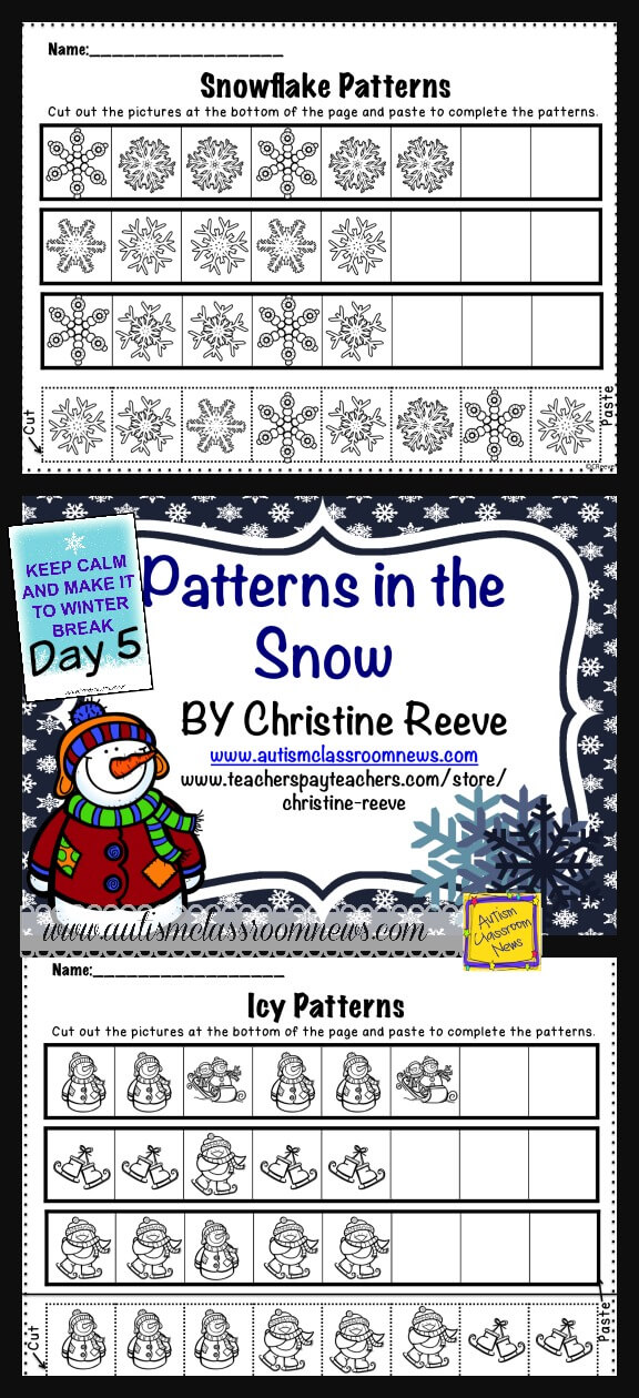 day 5 of the 8 day countdown to winter break winter patterning freebie autism classroom resources. Black Bedroom Furniture Sets. Home Design Ideas