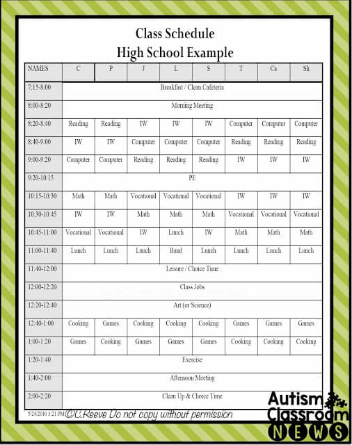Life Skills classroom schedule