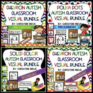Autism Classroom Visual Schedules in Solid , Chevron and Polka Dots for Primary and Secondary Students