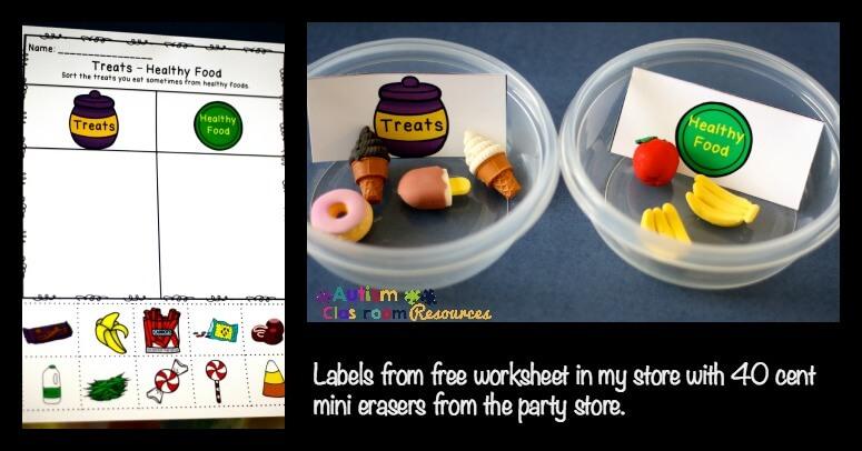 sorting healthy and unhealthy food workbasket worktask