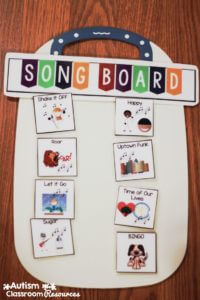 song board for high school middle school morning meeting autism