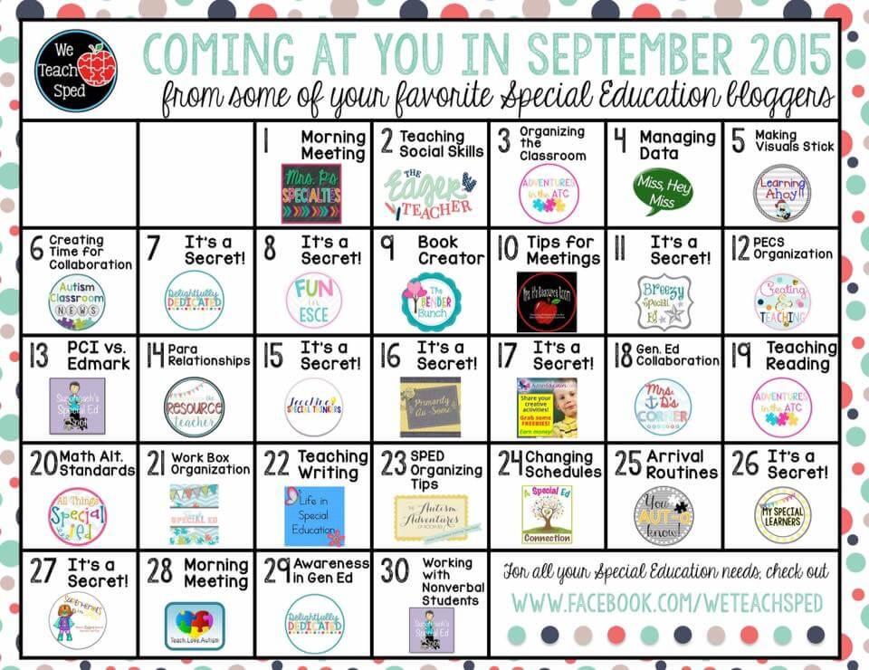 We Teach SPED Sept Calendar