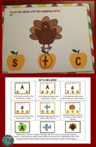 Letters for Fall Task Cards for Early letter practice