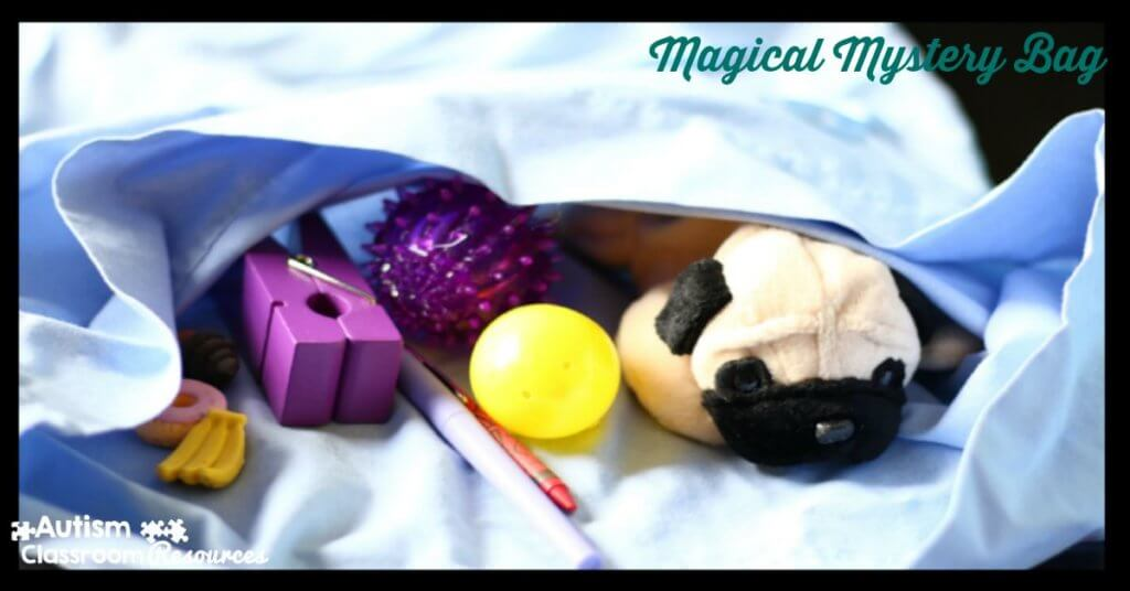 The magical mystery bag is a great way to work on expressive language with students with autism. I particularly like it for teaching expressive language and descriptive language. For more ideas check out this post!