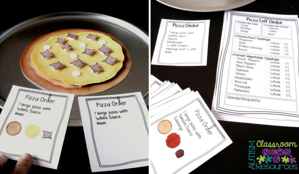 Vocational Workbasket Tasks for Workbasket Wednesday. Let's Build a Pizza from Autism Classroom Resources