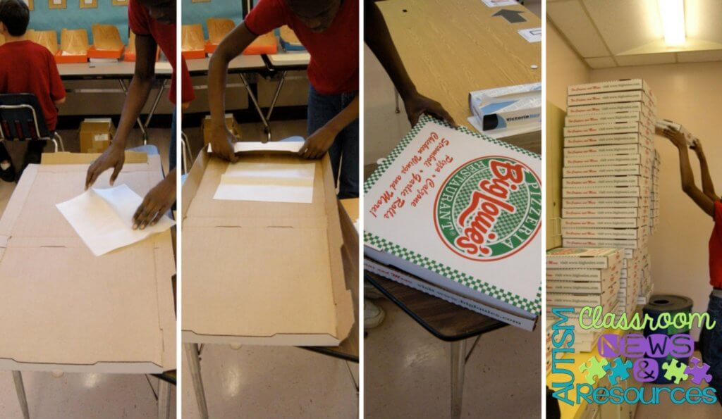 Building Pizza Boxes for Workbasket Wednesday on Autism Classroom Resources