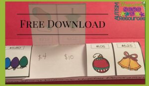 Free Download of Winter Holiday Next Dollar Foldables. Available at Autism Classroom News.