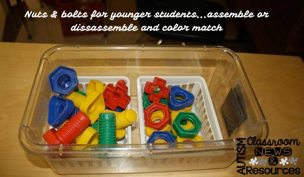Nuts and bolts make a great assembly and disassembly task. For older students you can use real ones. For younger, these are a great larger version.