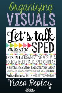 Pin Me! Organizing Visual Supports in Special Education Blab Replay from Let's Talk SPED