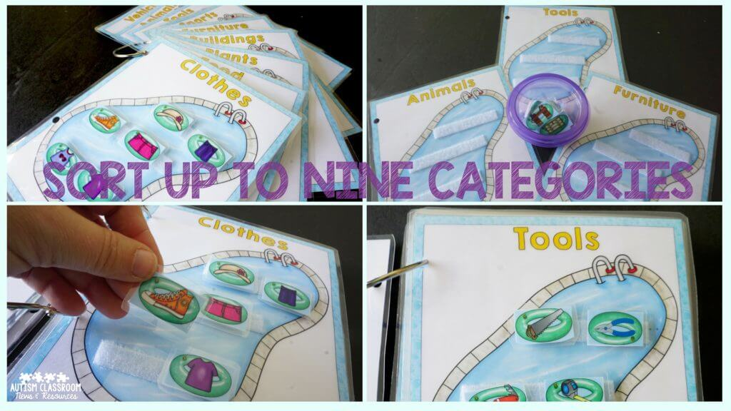 Sort up to 9 categories with this pool-themed set. You could bind them or put them on notebook rings to take apart for smaller sets. Great for teaching RFFCs