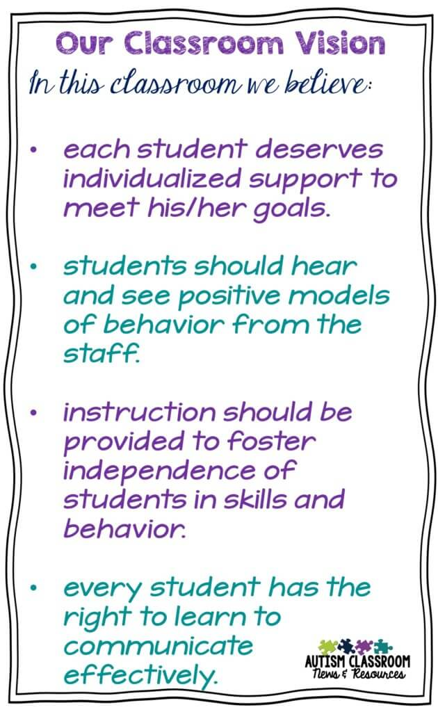 Creating a Classroom Vision Statement can be helpful in solving collaboration differences down the road.