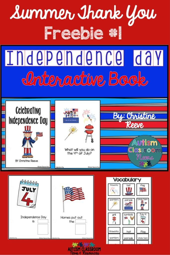 A free interactive book for the Fourth of July. Great for special education.