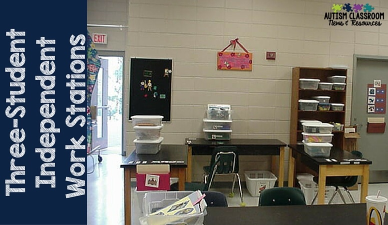 Three independent work system center for middle school with the baskets stacked. Students face out from the center to reduce distractions.