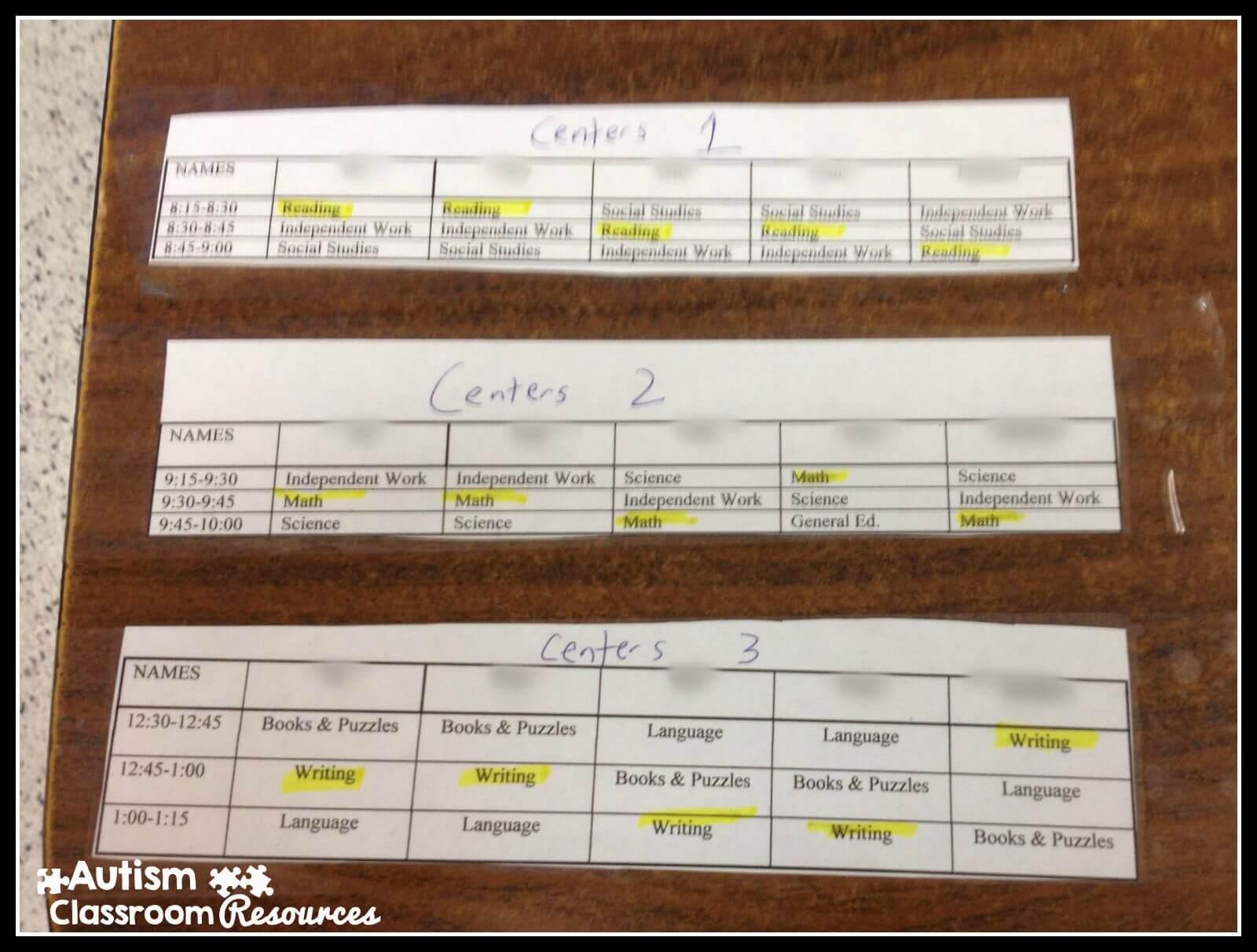 center schedules names blurred