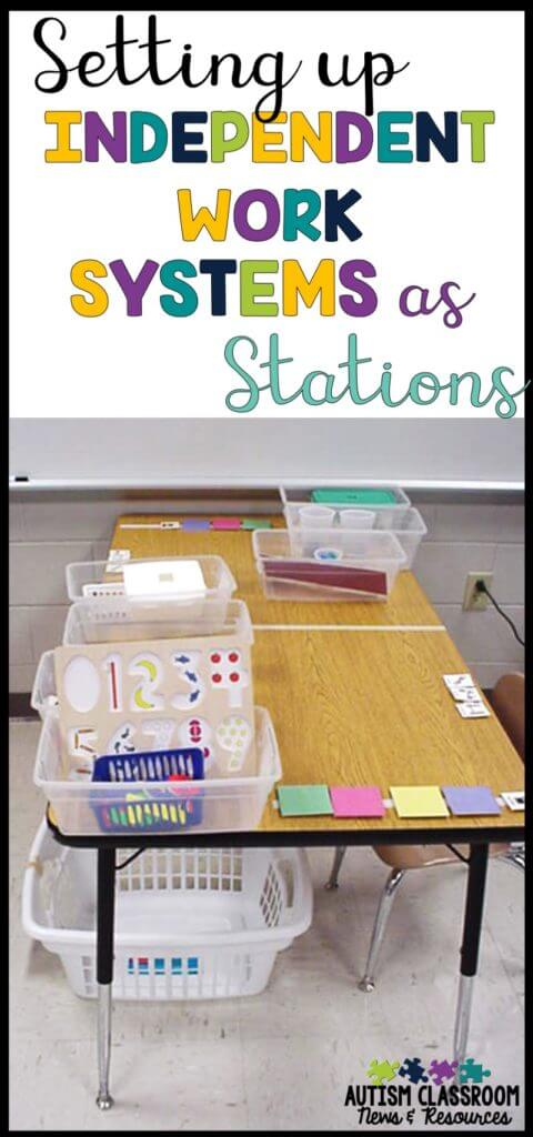 Setting up independent work systems in a special education classroom can be a challenge. This post includes different models and things that work for me. just now
