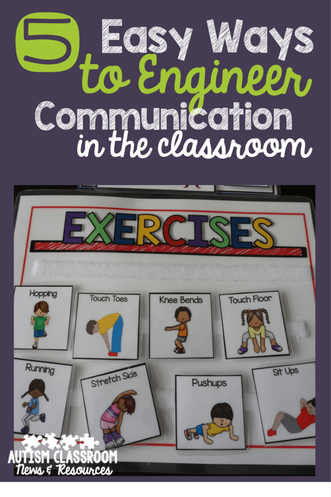 Engineering the special education classroom for a variety of communication needs is key in classroom setup. I shared 5 easy ways to set up communication tools and systems in the classroom from speech to AAC.