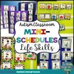 Life skills mini schedules are designed to help students complete activities of daily living and household/classroom chores