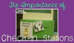 The importance of check-in stations when using picture schedules in the special education classroom. Check out several examples of how they work and why you need them.
