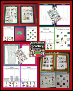 Science Sorting Activities for Electricity, Recycling, Living-Nonliving and Where Animals Live