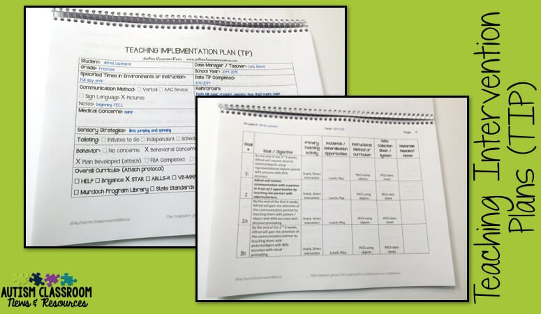 The Teaching Intervention Plan (TIP) and the CAPS can help you plan inclusion opportunities and communicate them with the staff.
