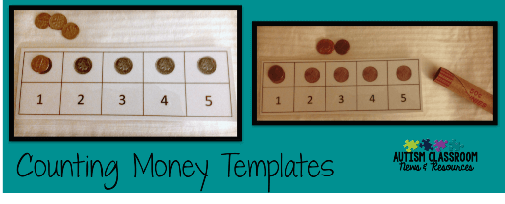 Using coin templates for beginning money instruction can be a great way to get students in special education started. This way they can purchase something, like a soda, by putting it on a jig for 3 quarters for a 75 cents soda. Find out more and download your free jigs by clicking through.
