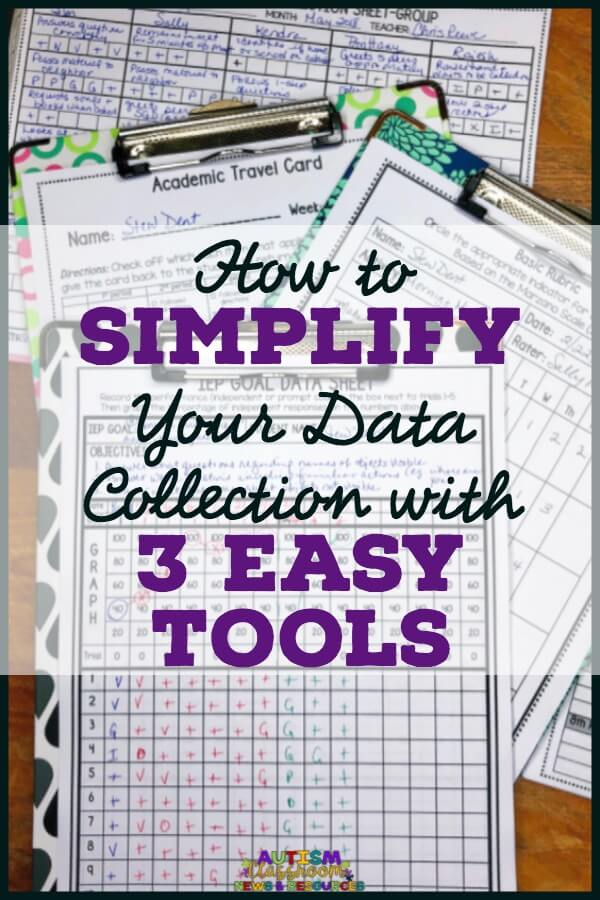 Taking data in the classroom is both an art and a science.  It's critical that we take it, but the instruction is even more critical.  These are 3 tools that can help simplify data collection so it doesn't interfere with instruction.