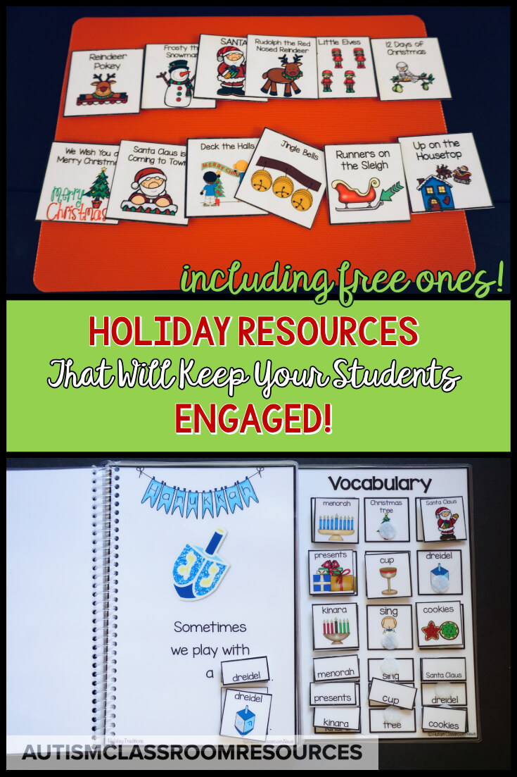 These holiday and Christmas resources are great for keeping engagement in special education classrooms at the hardest time of the year!  Make sure to grab the free activities too!