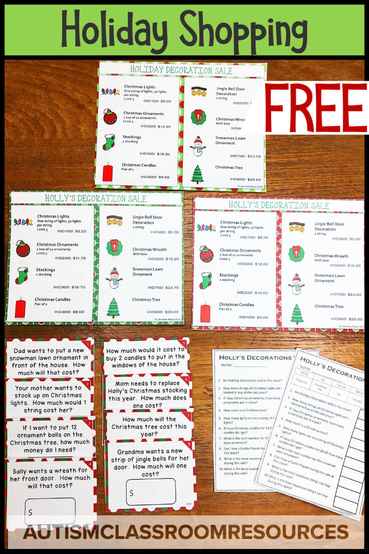 The winter holidays are always a tough time to get our students in special ed engaged. I've rounded up my holiday resources that are perfect for boosting engagement in independent work and in instruction with basic academics, money skills, and language tasks. Click through to check them out. #specialed #christmasresources