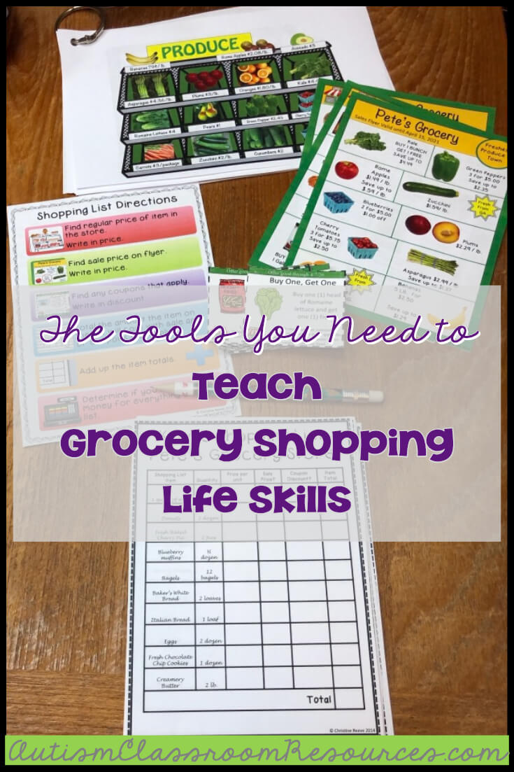 This functional life skills activity is perfect for any special education environment. This pack includes activities aimed at teaching students practical life skills promoting independent living. Any 1st, 2nd, 3rd, 4th, or 5th grade student with autism will love this true image of grocery shopping, while they practice skills ranging from money counting and calculating discounts to using coupons and check writing skills. Try this differentiated way of teaching in your sped classroom today.