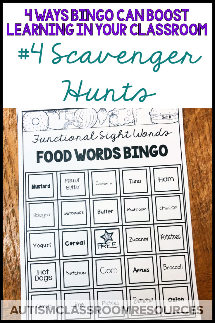 Scavenger hunts can be a great way to practice reading functional sight words and demonstrate comprehension. BINGO games can be adapted easily to create them 4 easy ways. Find out how and more ways you can use BINGO materials in your classroom in this post.