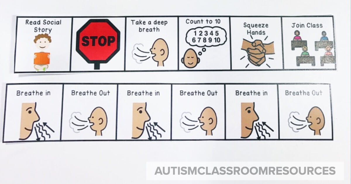 Use more visuals than words when talking to someone who is anxious. Sometimes just presenting them with a visual of a strategy like deep breathing can be enough to get them through the attack and move forward.