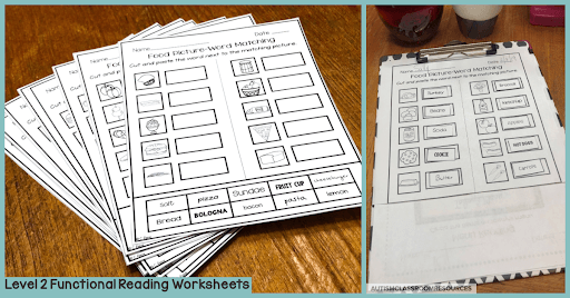 Level 2 of these functional reading sight word worksheets are great for students who can cut and paste or those who can write in the answers with or without a word bank. Perfect for differentiating among the wide range of skills you have in your classroom. Find out more about them and how they can save you time in this post.