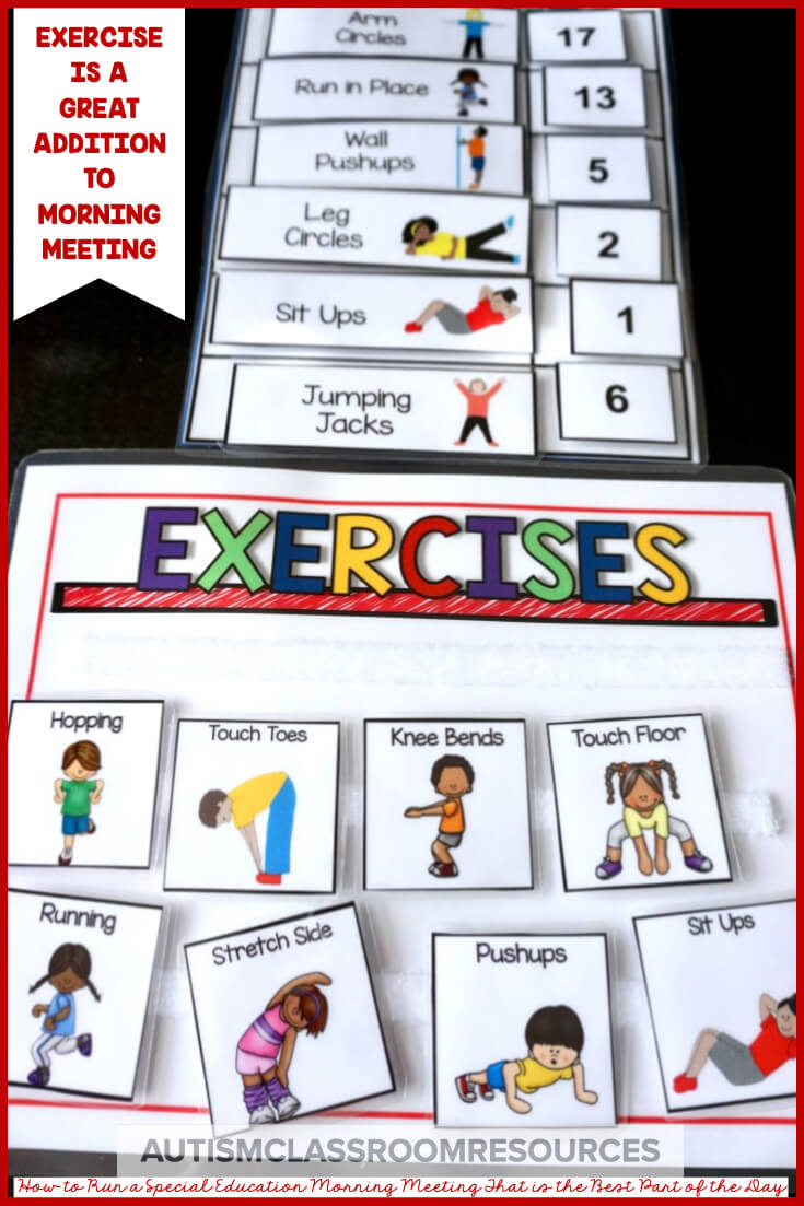 Exercise makes a great addition to morning meeting.  Wondering how to create productive and FUN morning meetings in your classroom? Then you will love this post to help you!