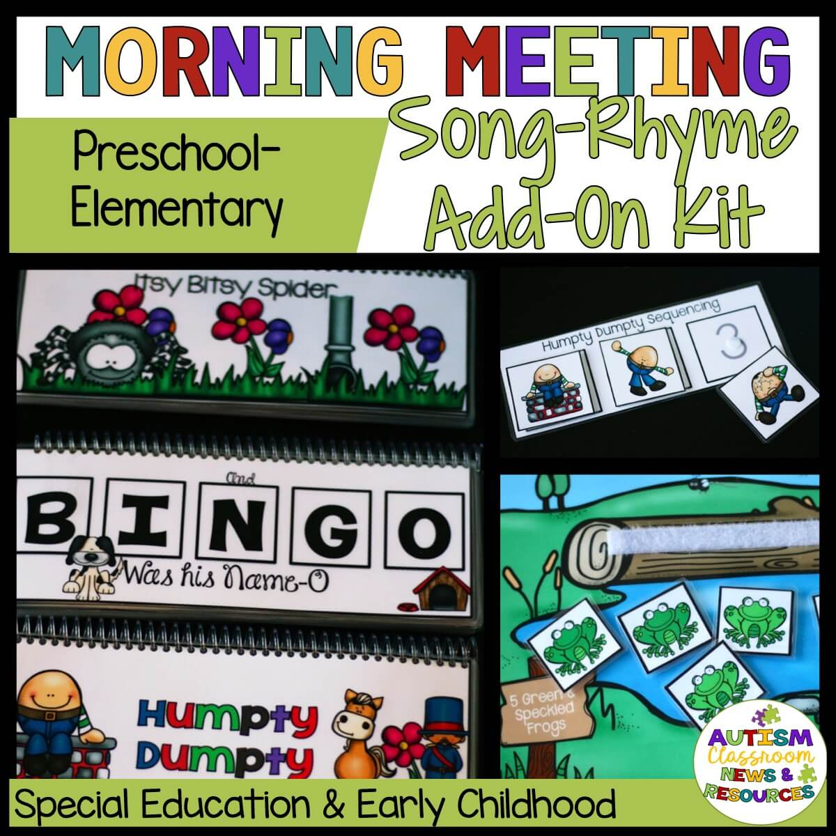 Morning meeting songs and rhymes add on lincludes bingo, humpty dumpty and others all with visuals for choice boards and to use during the group.