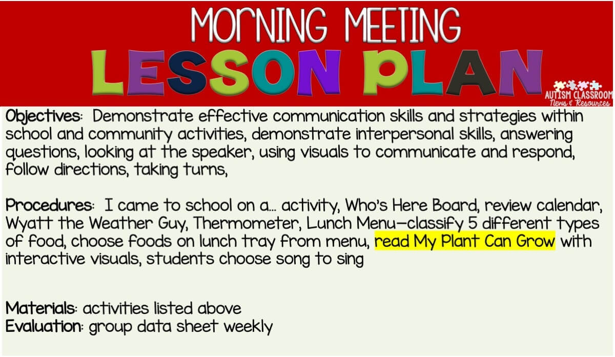 Lesson planning is one of the 10 steps for creating a morning meeting that your special ed class will love. Find out the other 9 steps in this post. #specialeducation #morningmeeting Christine Reeve Christine Reeve 8:06 PM Jun 12 If morning meeting or whole group activities have ever intimidated you as a special education teacher, you are not alone. Trying to figure out meaningful group activities for such diverse populations can be tough. But this post can help with 10 steps to make it the best part of your day! #morningmeeting #specialeducation Show more 2 of 7