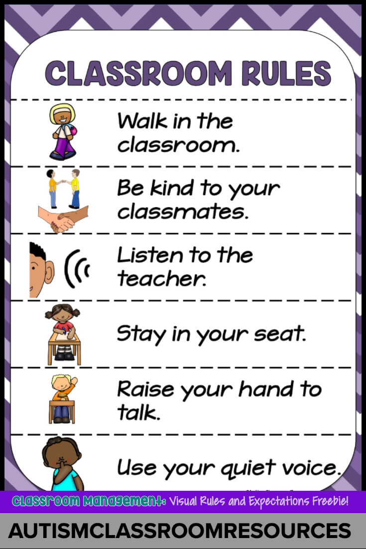 Visual Rules And Expectations Freebie Autism Classroom
