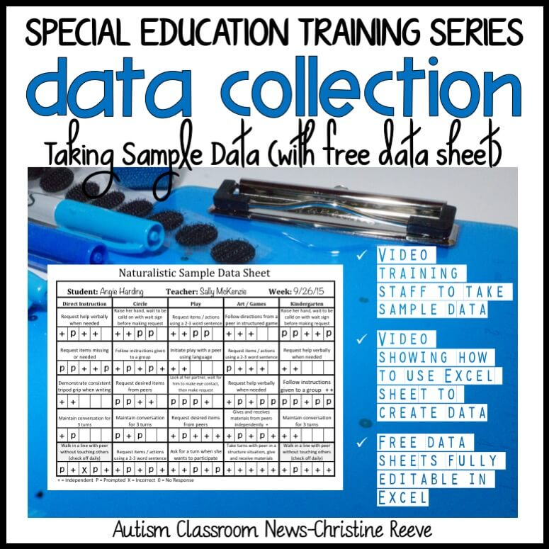 Special Education Training Series. Data Collection. Taking Sample Data (with free data sheet). Video training staff to take sample data. video showing how to use excel sheet to create data. free data sheets fully editable in excel.